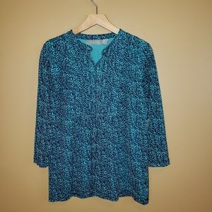 Liz Claiborne blue/green printed tunic